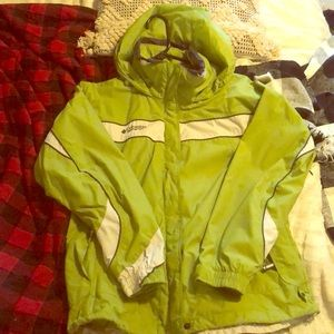 Women's Green and Cream Columbia jacket size 4
